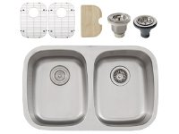 Ticor S215 Undermount 16 G Stainless Steel Double-Bowl Kitchen Sink + Accessories