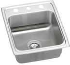 Elkay Lustertone 17x20 3 Hole Single Bowl Sink LR17203
