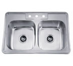 Dawn AST102 Topmount Equal Double Bowl with Faucet Holes Stainless Steel Sink