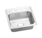 Elkay Lustertone LRAD1918 U-Channel Topmount Single Bowl Stainless Steel Sink