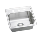 Elkay Lustertone LRAD1919 U-Channel Topmount Single Bowl Stainless Steel Sink