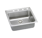 Elkay Lustertone LRAD2222 U-Channel Topmount Single Bowl Sink