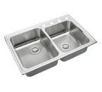 Elkay Lustertone LRAD250 U-Channel Topmount Double Bowl Stainless Steel Sink