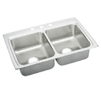 Elkay Lustertone LRAD3322 U-Channel Topmount Double Bowl Stainless Steel Sink