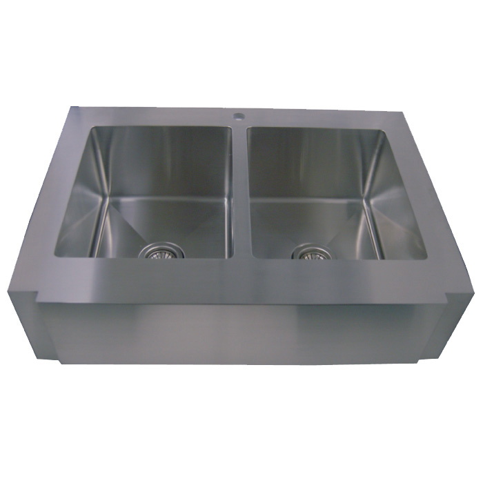 36 Stainless Steel Zero Radius Kitchen Sink Curve Apron Front WC12D0002