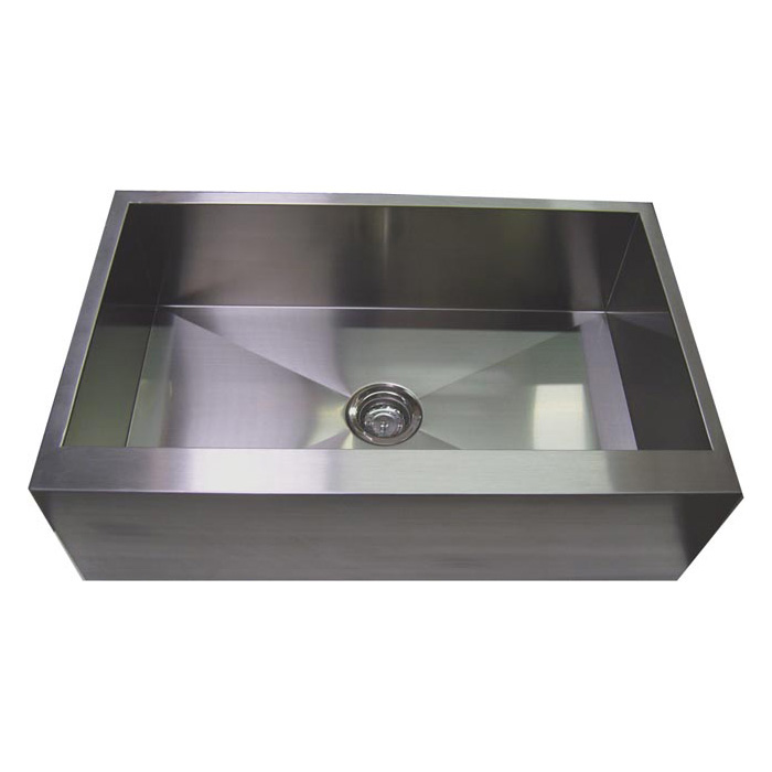 "33"" Stainless Steel Zero Radius Kitchen Sink Flat Apron Front WC12S003R"