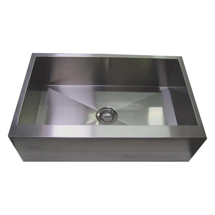 36 Stainless Steel Zero Radius Kitchen Sink Flat Apron Front Wc12s003r3