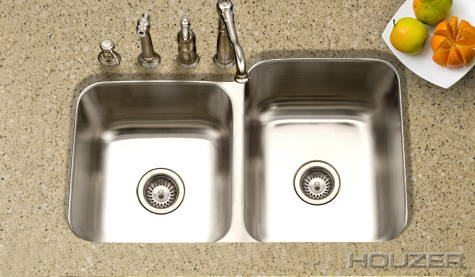 Houzer Medallion Undermount 60/40 Double Bowl MEC 3220SL 20| Stainless Sinks  | Stainless Steel Sinks | StainlessSteelSinks.org