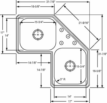 Corner Sink Dimensions : Topmount Corner Double Bowl Stainless Steel Sink Stainless Sinks ...