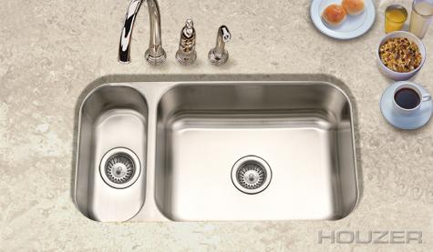 Houzer Elite Undermount 80/20 Double Bowl EHD 3118 1| Stainless Sinks |  Stainless Steel Sinks | StainlessSteelSinks.org