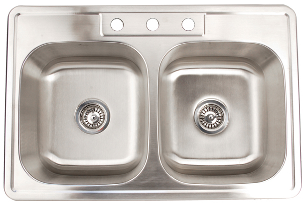 Fontaine Stainless Steel 3 Hole Double Bowl Drop In Kitchen Sink