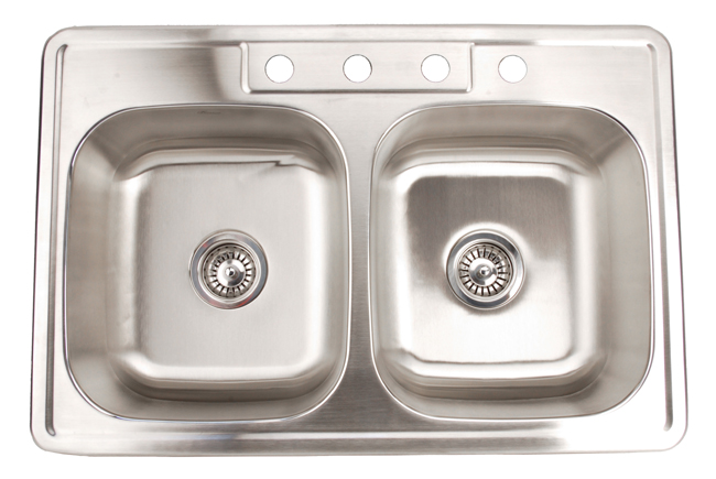 33x22 Stainless Steel Sink : Fontaine Stainless Steel 4-hole Double Bowl Drop-in Kitchen Sink