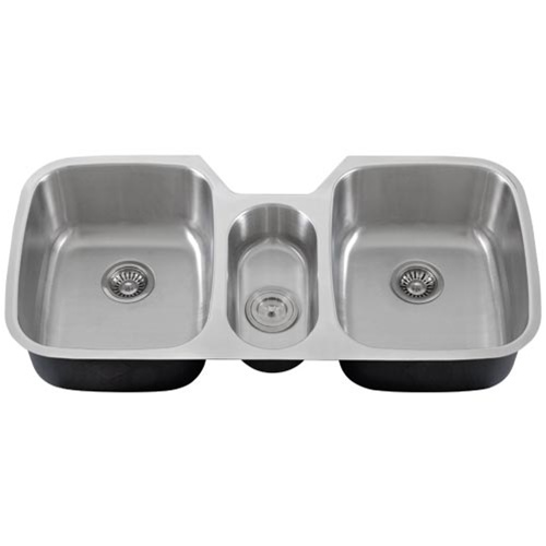 3 Bowl Kitchen Sink : Ticor S615 Undermount Stainless Steel Triple Bowl Kitchen Sink