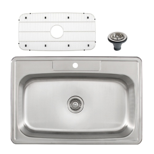 Ticor S994 Overmount Stainless Steel Single Bowl Kitchen Sink ...