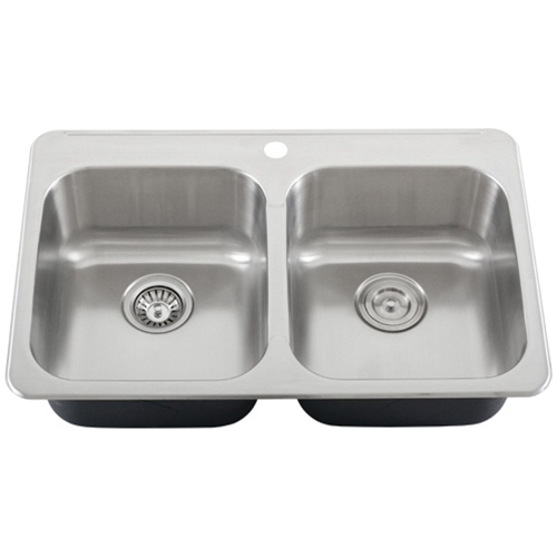 Ticor S998 Overmount 18 Gauge Stainless Steel Double Bowl