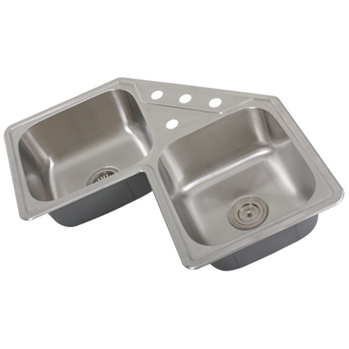 Stainless Corner Sink : Ticor S999 Corner Overmount 18-Gauge Stainless Steel Kitchen Sink