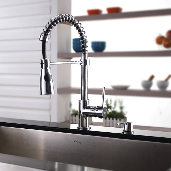 Kraus Stainless Steel Farmhouse Kitchen Sink With Chrome Faucet Dispenser KHF