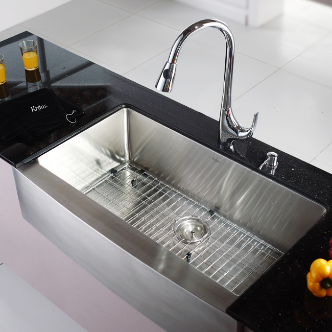 Kraus Stainless Steel 36 inch Farmhouse Single Bowl Kitchen Sink and ...