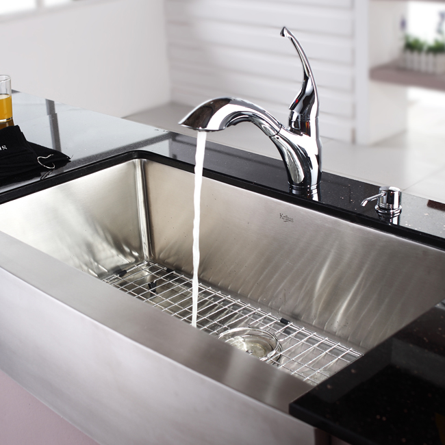 Stainless Steel Farmhouse Sink 36 Inch : Kraus Stainless Steel 36 inch Farmhouse Single Bowl Kitchen Sink and ...