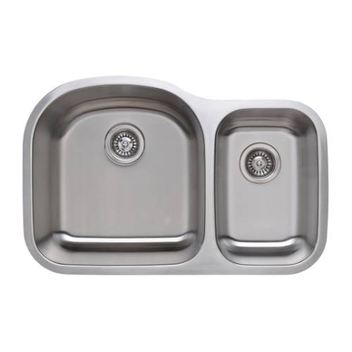 Wells Sinkware 18 Gauge 70/30 Double Bowl Undermount Stainless Steel Kitchen Sink Package CMU3221-97D-1