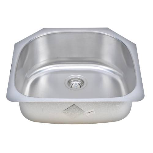 Wells Sinkware 18 Gauge D-shape Single Bowl Undermount Stainless Steel Kitchen Sink Package CMU2421-9D-1