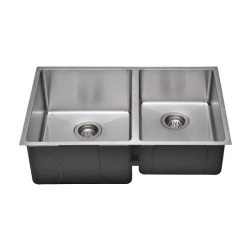 Wells Sinkware Commercial Grade 16 Gauge Handcrafted Double-Bowl Undermount Stainless Steel Kitchen Sink CSU3020-97