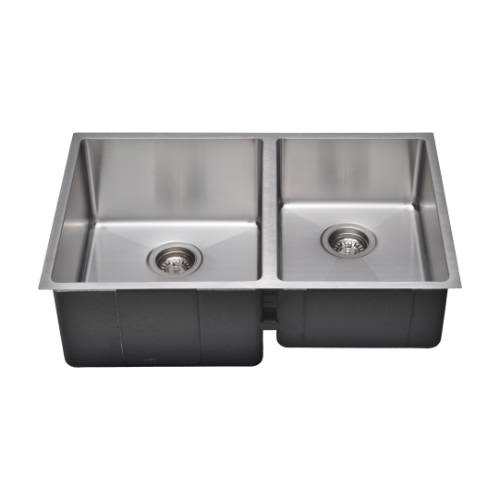 Wells Sinkware Commercial Grade 16 Gauge Handcrafted Double-Bowl Undermount Stainless Steel Kitchen Sink Package CSU3020-97-1