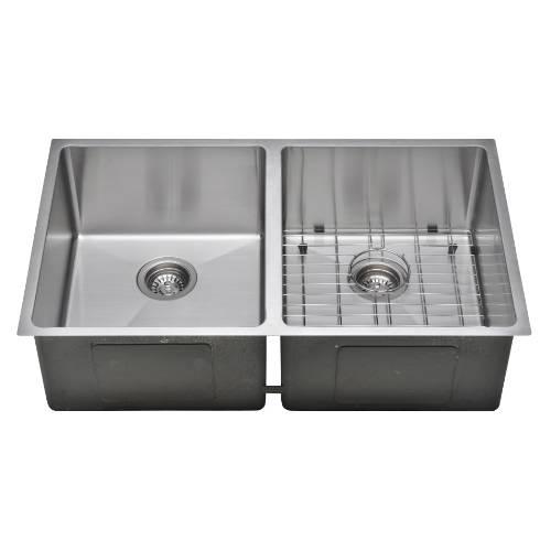 Wells Sinkware Commercial Grade 16 Gauge Handcrafted Double Bowl Undermount Stainless Steel Kitchen Sink Package CSU3320-99-1