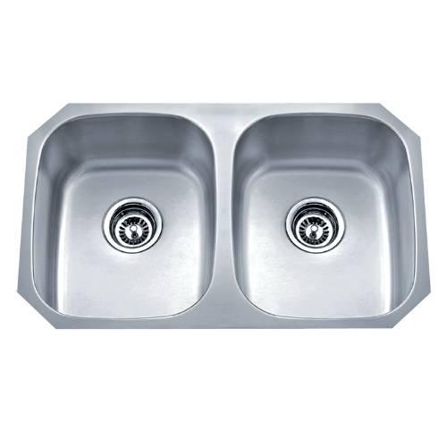 Wells Sinkware 18 Gauge Undermount Double Bowl Stainless Steel Kitchen Sink Package SSU3018-88-1