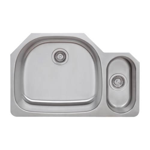Wells Sinkware 18 Gauge 80/20 Double Bowl Undermount Stainless Steel Kitchen Sink Package CMU3221-95D-1