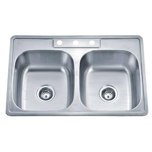 Wells Sinkware 20 Gauge ADA Topmount Double Bowl Stainless Steel Kitchen Sink Package SST3322-55-ADA-1