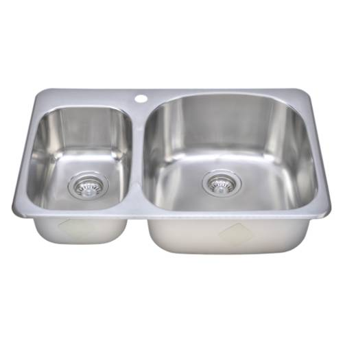 Wells Sinkware 18 Gauge Double Bowl Topmount Stainless Steel Kitchen Sink TOT3221-79