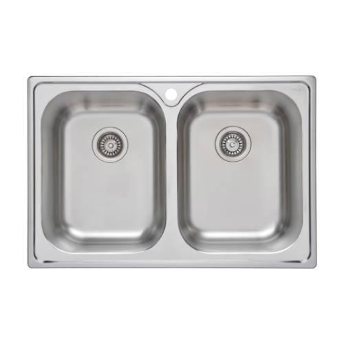Wells Sinkware 18 Gauge Double Bowl Topmount Stainless Steel Kitchen Sink GLT3322-99LG