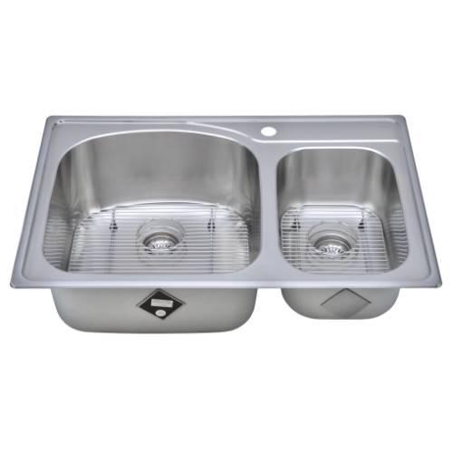 Wells Sinkware 18 Gauge Double Bowl Topmount Stainless Steel Kitchen Sink CHT3322-97