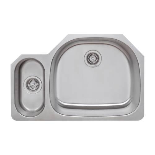 Wells Sinkware 18 Gauge 20/80 Double Bowl Undermount Stainless Steel Kitchen Sink CMU3221-59D