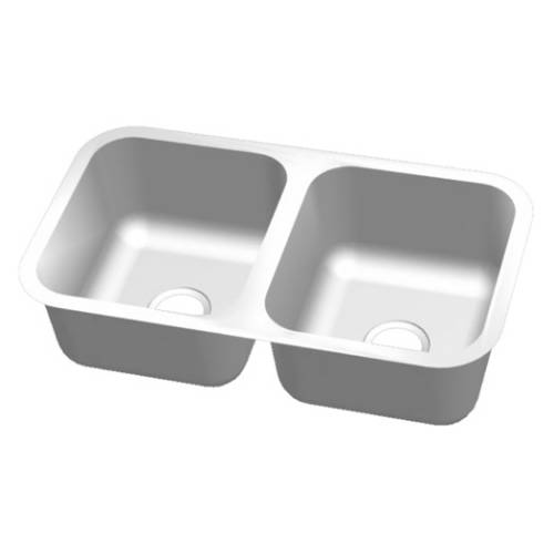Wells Sinkware 18 Gauge 50/50 Double Bowl Undermount Stainless Steel Kitchen Sink CMU3318-99-16
