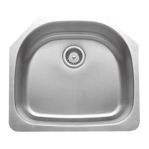 Wells Sinkware 16 Gauge D-shape Single Bowl Undermount Stainless Steel Kitchen Sink CMU2421-9D-16