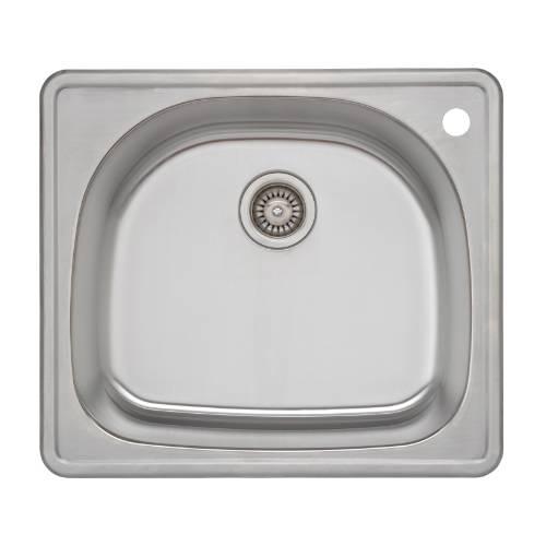 Wells Sinkware 18 Gauge D-shape Single Bowl Topmount Stainless Steel Kitchen Sink CMT2522-9DR