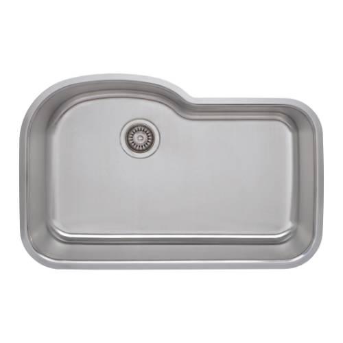 Wells Sinkware 18 Gauge Offset Single Bowl Undermount Stainless Steel Kitchen Sink DTU3121-9