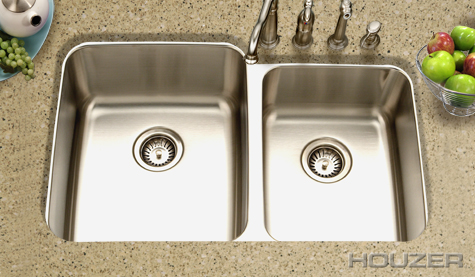 Houzer Medallion Undermount 60/40 Gourmet Double Bowl MES-3221-1