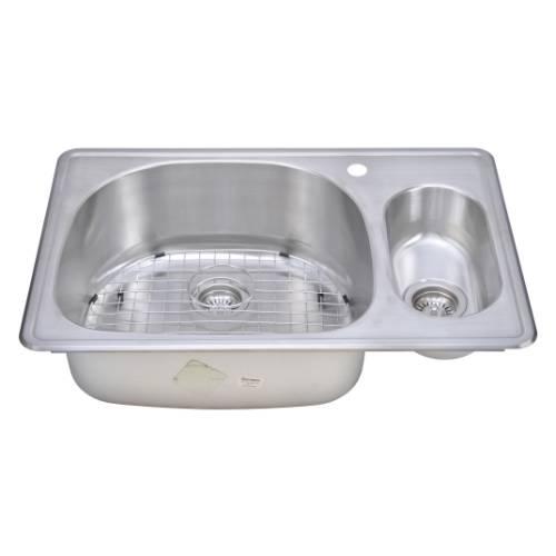 Wells Sinkware 18 Gauge 80/20 Double Bowl Topmount Stainless Steel Kitchen Sink Package CMT3322-95D-1