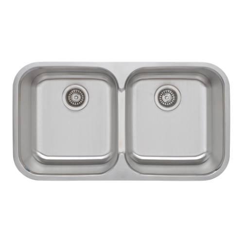 Wells Sinkware 18 Gauge 50/50 Double Bowl Undermount Stainless Steel Kitchen Sink Package TRU3319-99C-1