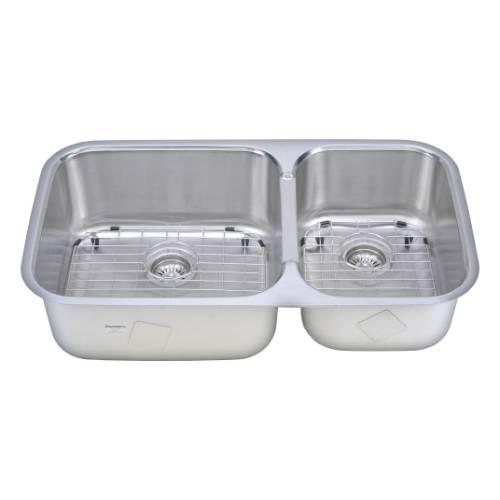 Wells Sinkware 18 Gauge 60/40 Double Bowl Undermount Stainless Steel Kitchen Sink Package TRU3319-98A-1
