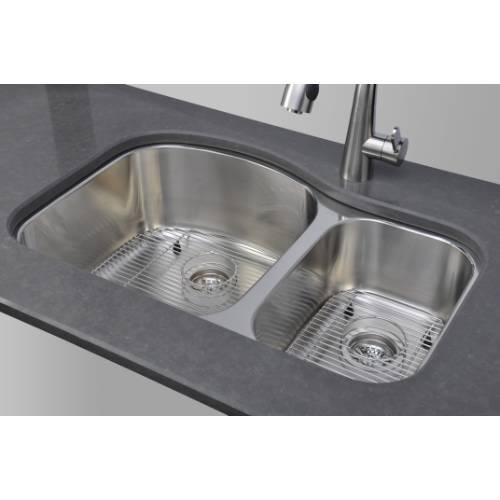 Wells Sinkware 17 Gauge Deck/ 18 Gauge Double Bowl Undermount Stainless Steel Kitchen Sink Package CHU3221-97-1