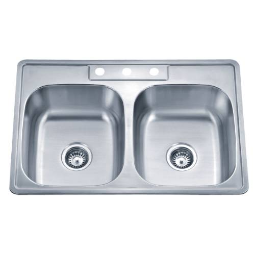 Wells Sinkware 20 Gauge ADA Topmount Double Bowl Stainless Steel Kitchen Sink SST3322-55-ADA