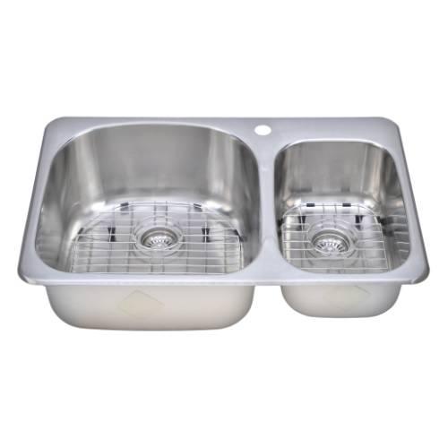 Wells Sinkware 18 Gauge Double Bowl Topmount Stainless Steel Kitchen Sink Package TOT3221-97-1
