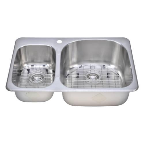 Wells Sinkware 18 Gauge Double Bowl Topmount Stainless Steel Kitchen Sink Package TOT3221-79-1