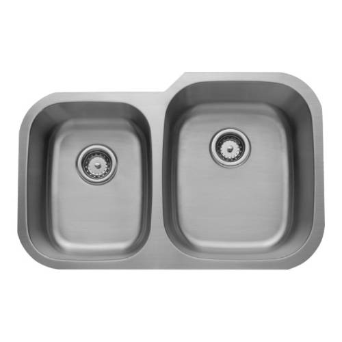 Wells Sinkware 18 Gauge 40/60 Double Bowl Undermount Stainless Steel Kitchen Sink Package CMU3221-79-1