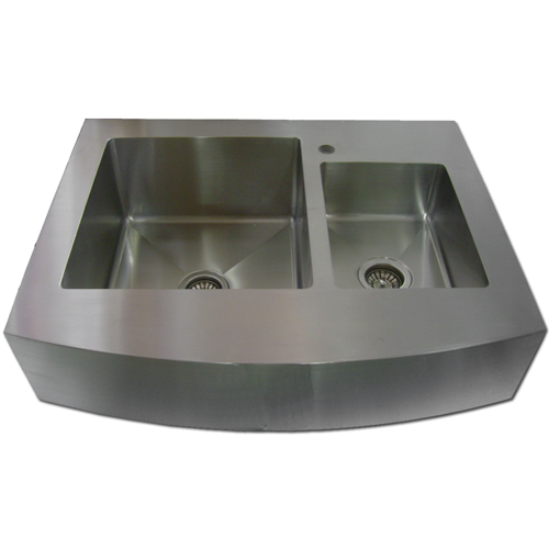 Apron Stainless Steel Sink : 36? Stainless Steel 60/40 Kitchen Sink Curve Apron Front WC12D0001