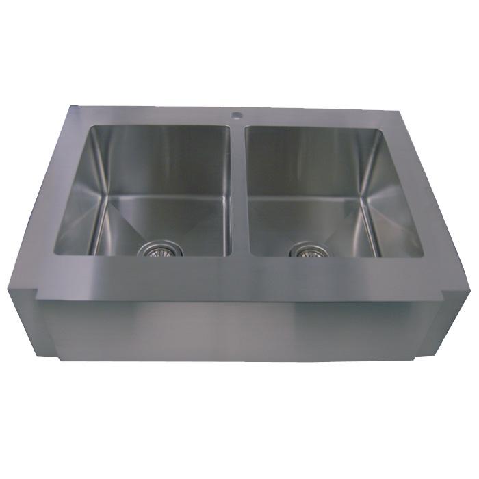 "36"" Stainless Steel Zero Radius Kitchen Sink Curve Apron Front WC12D0002"